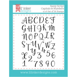 Tampons clear Sassy Script Capitals & Numbers Lil'inker Design