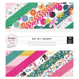 "Pink Paislee Single-Sided Paper Pad 6""X6"" oh my heart"