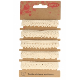 Assortiment de ruban coton dentelle écru